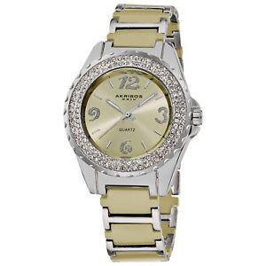 【送料無料】 womens akribos xxiv ak514bg crystalaccented ceramic bracelet watch