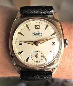 【送料無料】gents 1957 9ct gold bentima star wind up watch eta 1260 serviced restored