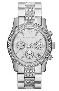 【送料無料】michael kors runway crystal chronograph bracelet watch, 38mm silver