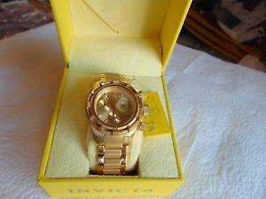 【送料無料】invicta 40mm bolt high polished amp; brushed 18k ionplated gold bracelet watch