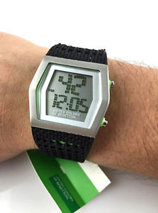 orologio benetton digitale gomma rubber watch led illuminazione introvabile