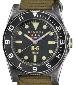 【送料無料】 mens benrus h6 military tested limited olive nylon bracelet  fast amp; free