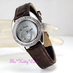 【送料無料】classic vintage luk bling mop pearl leather watch w floating swarovski crystals