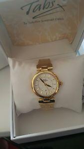 【送料無料】tabitha webb ladies quartz gold plated stainless steel bracelet watch brand