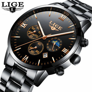 【送料無料】sports quartz full steel business waterproof watch fashion gift for him dad 24