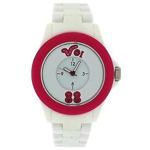 【送料無料】voi jeans arabella ladiesgirls analogue white amp; pink plastic strap watch