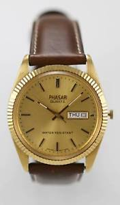 【送料無料】phasar watch men day date leather brown stainless gold steel water resist quartz