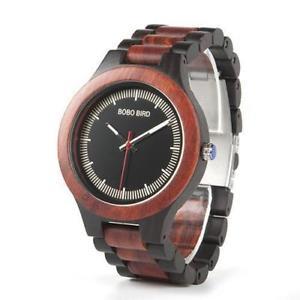 【送料無料】wooden quartz watch ebony red wood pine for men twotone