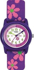 【送料無料】timex girls flowers time teachers children kids wrist watch t89022 purple