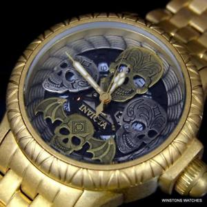 【送料無料】invicta bone collector skull 48mm swiss mvt 19858 gold tone distressed watch