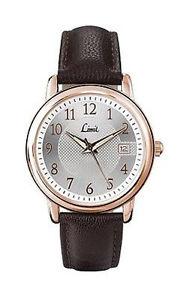 【送料無料】limit mens rose gold plated brown leather strap watch model no 5450