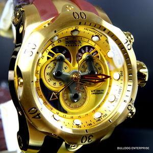 【送料無料】mens invicta reserve venom swiss master calendar gold plated brown watch