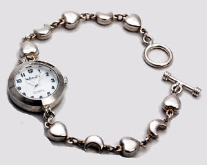 【送料無料】infinitywomens sterling silver 925 heart and moon analog quartz watch