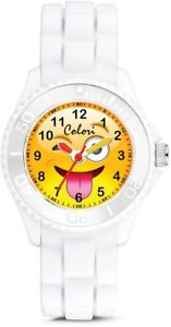 【送料無料】colori happy smile silly 30mm white key ringwatch set