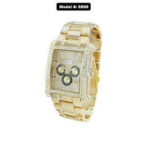 【送料無料】mens hip hop gold plated cubic zirconia geneva bling iced out wrist watch