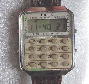 【送料無料】vintage mens futura complex calculator quartz wristwatch running