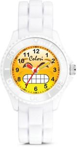 【送料無料】colori happy smile chilly 30mm white key ringwatch set