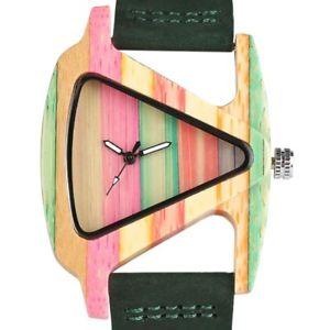 【送料無料】creative women wood watches unique colorful wooden triangle hollow quartz wri