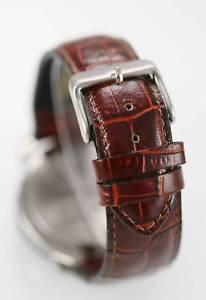 craftsman watch men leather brown 24hr stainless silver steel white quartz