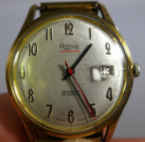 vintage swiss gents 9ct gold rone automatic wrist watch working 25 jewels