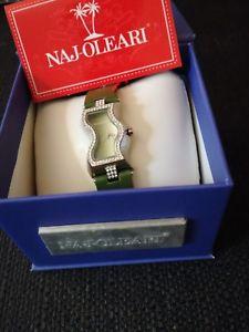 【送料無料】orologio donna najoleari cinturino verde cassa acciaio con strass moda nuovo
