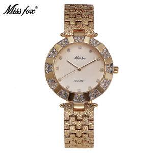 【送料無料】miss fox women watch luxury fashion casual ladies gold watch quartz simple c