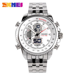 【送料無料】men sport watch steel fashion led waterproof military wristwatch