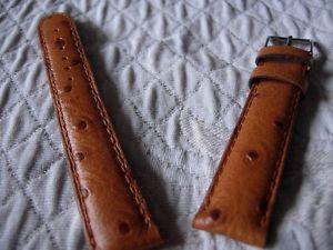 【送料無料】18 mm robuste bracelet facon autruche veau veritable miel couture ton sur ton