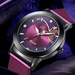 【送料無料】women watches purple leather strap quartz fashion feminino bracelet wristwatch