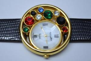 【送料無料】unique futura multicolored rhinestones ladies gold tone watch model 7421 bat