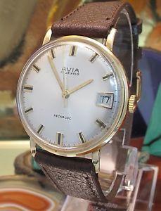 【送料無料】avia 9 ct gold date watch in good condition serviced fhf swiss one year warrany