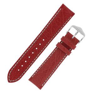 【送料無料】hirsch jumper textured calf leather watch strap in red with white stitching