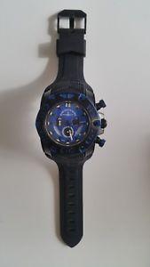 【送料無料】zenowatch basel, chrono quartz neptun 3, stahl schwarz, silikon blau