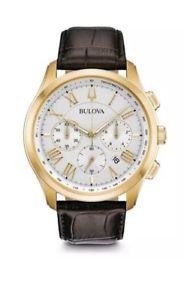 【送料無料】brand bulova mens classic watch chronograph gold tone case 97b169