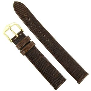 15mm hirsch genuine lizard brown flat unstitched watch strap regular