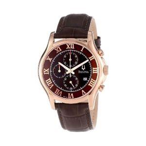 【送料無料】orologio cronografo uomo bulova 97b120 acciaio oro rosa pelle marrone chrono