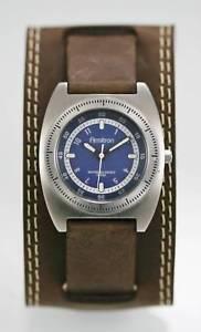 【送料無料】armitron watch mens blue stainless steel silver leather brown 50m battery quartz