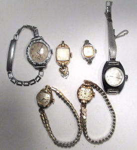 【送料無料】6 pc vtg lot ladies wristwatches nr bulova elgin rouan manfred rgp gf em1208