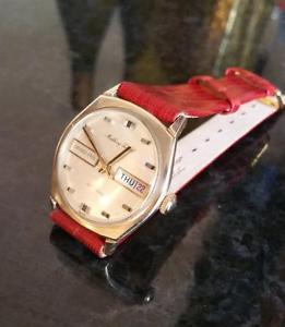 【送料無料】vintage mens mathey tissot grand prix daydate automatic wrist watch gold filled