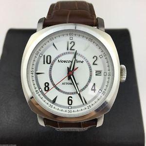 【送料無料】moscow time open heart automatic wrist watch with genuine leather strap
