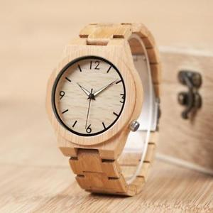 【送料無料】bamboo wooden watch for men unique lug design