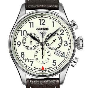 【送料無料】junkers 61865 spitzbergen f13 edelstahl chronograph leuchtzifferblatt 40 mm neu