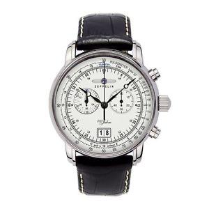 【送料無料】zeppelin 100 jahre zeppelin quarz, 76901, chronograph mit grodatum, silber:hokushin