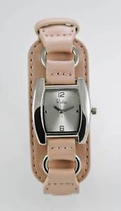 【送料無料】relic watch womens pink wide leather stainless silver water resist white quartz