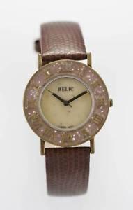 【送料無料】relic watch mens beige stainless gold battery brown leather easy read quartz