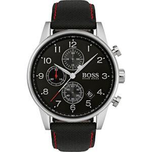 【送料無料】boss navigator herrenuhr 1513535 analog chronograph leder,textil schwarz