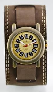 【送料無料】dejuno watch mens stainless gold steel brown wide leather water resistant quartz