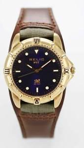 【送料無料】relic watch mens stainless steel gold brown wide leather 50m blue quartz