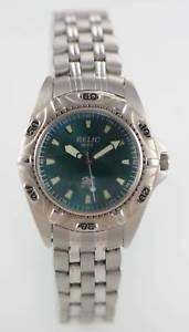 【送料無料】relic watch mens stainless steel silver aqua 50m water resistant quartz