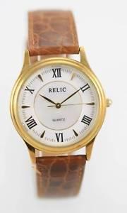 【送料無料】relic mens white mop gold stainless steel brown leather quartz battery watch